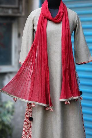 layered long kurta - desert sand & the red trellis