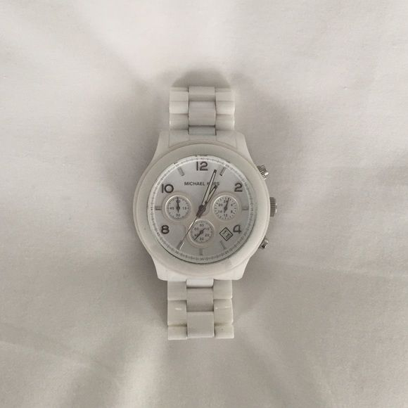 White Michael Kors Watch large faced MK watch || no scratches || needs new battery Michael Kors Accessories Watches