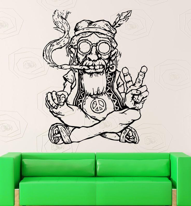 Amazon.com - Wall Stickers Vinyl Decal Weed Marijuana Old Hippie Smoking Weed Marijuana Funny Decor For Living Room (z2173i) -