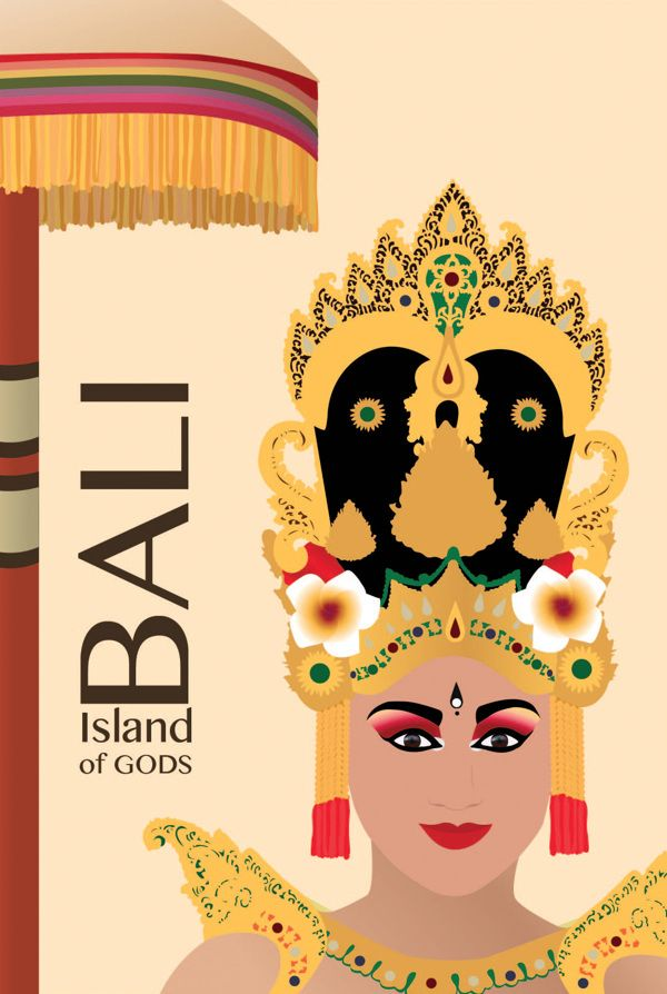 Travel Poster - Bali - Island of Gods -  Indonesia.