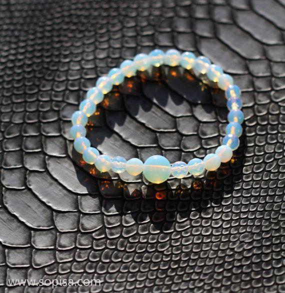 Bracelet With Opal Gemstone Beads Creating Fire by SopisaJewelry