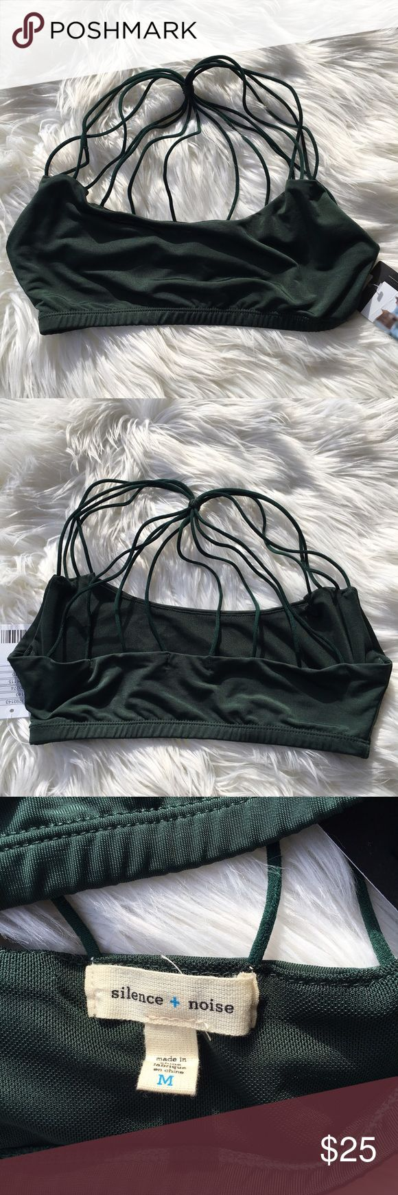 Silence + noise see thru bra From urban outfitters. Brant new with tags! No flaws. Material is see thru. It's a deep green color. Back strap accents are super cute. Size M. Questions? Open to offers. :) Urban Outfitters Intimates & Sleepwear Bras