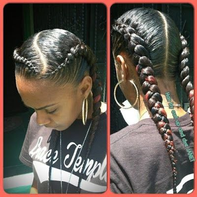 black hairstyles | black braided hairstyle | pigtail hairstyle  http://www.hairstylo.com/2015/07/black-hairstyles.html