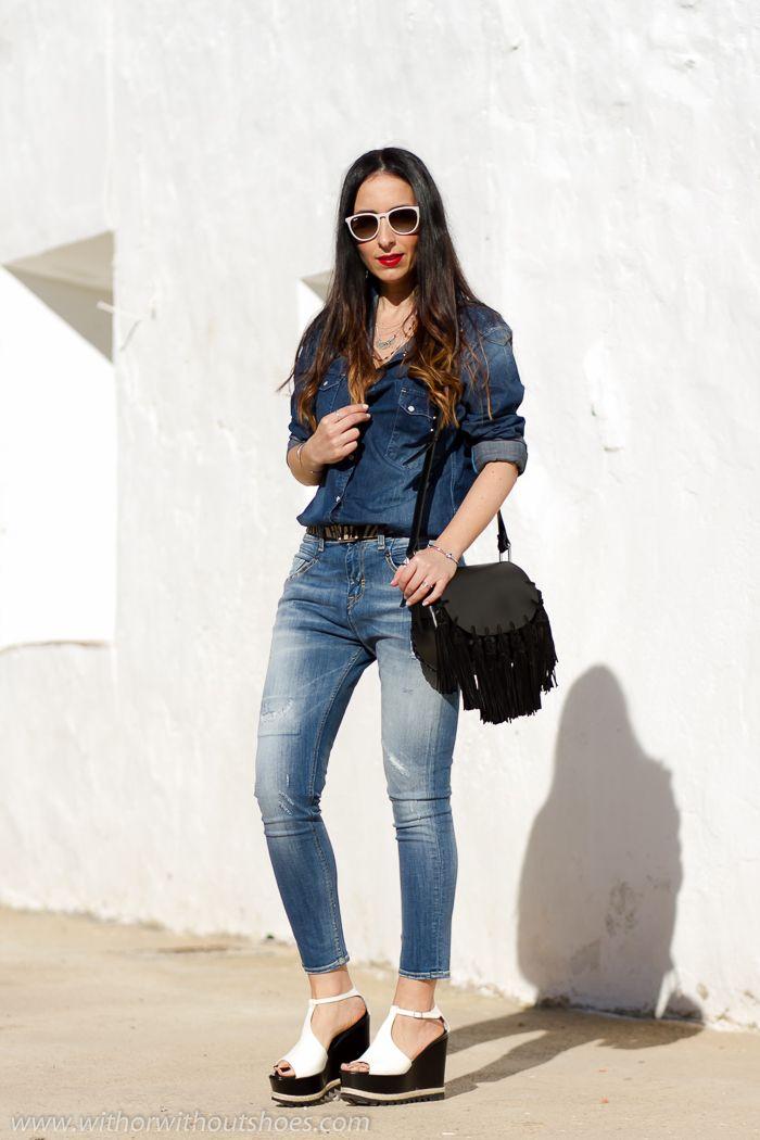 Look Casual Doble Denim: Camisa vaquera y Jeans Meltin' Pot   With Or Without Shoes - Blog Moda Valencia España