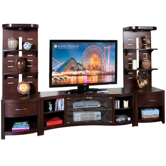 Espresso Curved TV Console and 2 Piers with Glass Shelves by Sunny Designs  at Powell s Furniture. 41 best Entertainment Centers images on Pinterest   Tv stands