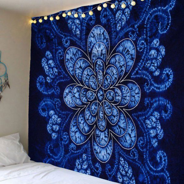Bohemian Flower Pattern Waterproof Wall Hanging Tapestry - Blue - W79 Inch * L79 Inch