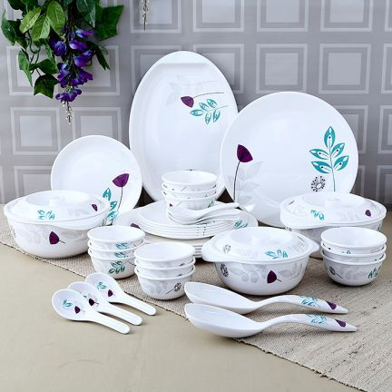 KITCHEN AND DINING Servewell Leafy Urmi Dinner Set of Thirty Six Pieces White  Grey,Dinner Sets-Dinner-Sets