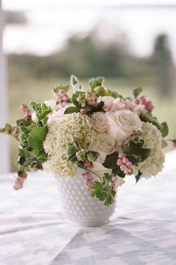 Florals♥  Milk Glass Centerpiece