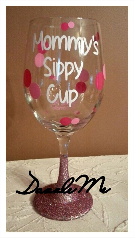 Perfect New Mom Mother's Day Gift! Personalized Mommy's Sippy Cup Oversized Wine Glass with Sparkling Glitter Stem