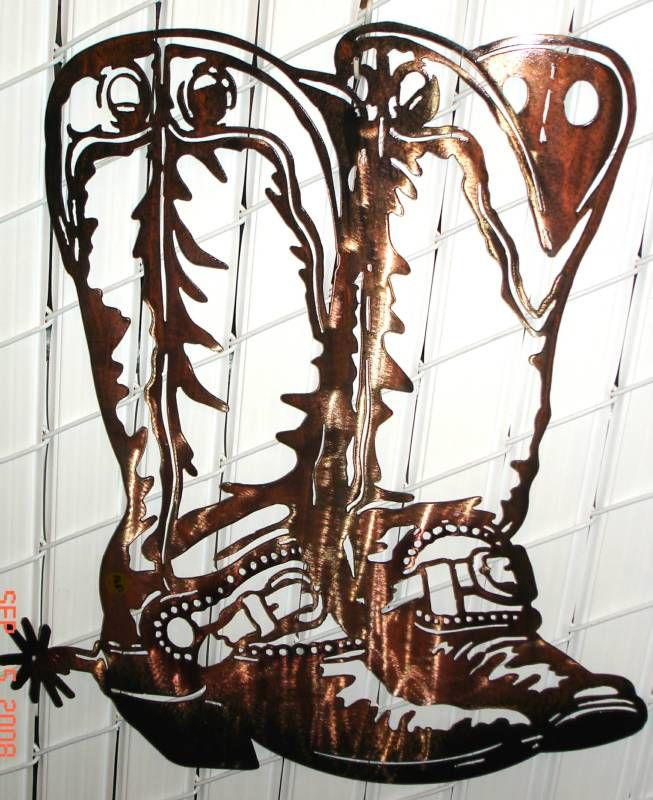 Cowboy Silhouette Patterns | cowboy boots wall art custom design made by hand plasma cut