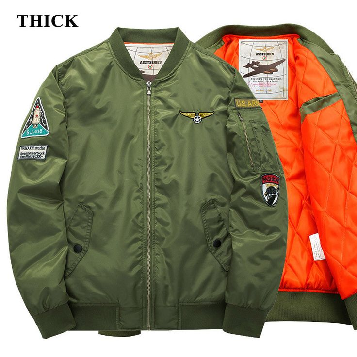 Men's Aeronautica Militare Logo Air Force One Bomber Military Pilot MA-1 Embroidery Army Patch Cotton Liner Jacket