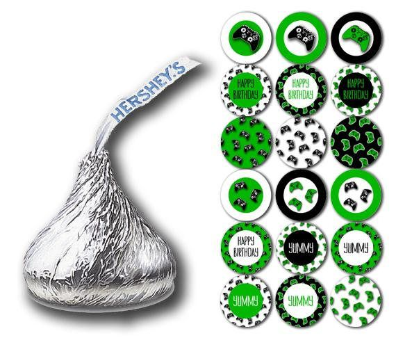 Printable Video Game Party Kisses Stickers Hershey Kiss