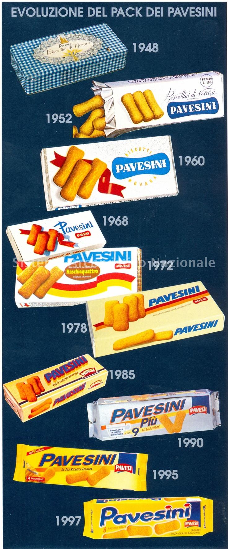 """Evoluzione del packaging dei Pavesini. """"e l'ora dei Pavesini, tutti i bimbi al letto!""""- vintage Pavesini television ad campaign."""