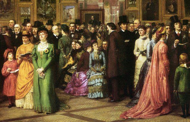 Imagenes Victorianas: Reunión de hombres y mujeres.