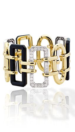 Baroque cuff in 18K white gold and 18K yellow gold, onyx and diamonds.