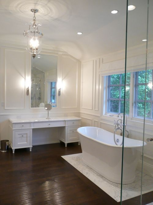 White out marble- love the light fixture: Bathroom Tubs, Small Bathroom, Bathtubs, Beautiful Bathroom, Master Bath, White Bathrooms, Bathroom Ideas, Design