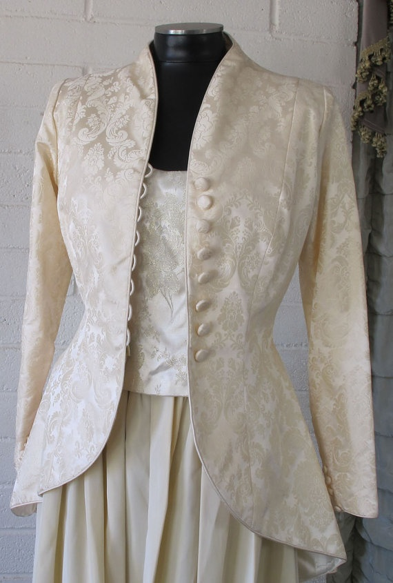 Silk Wedding Coat  high collar and tuxedo tail by Castoff2UVintage, $146.00