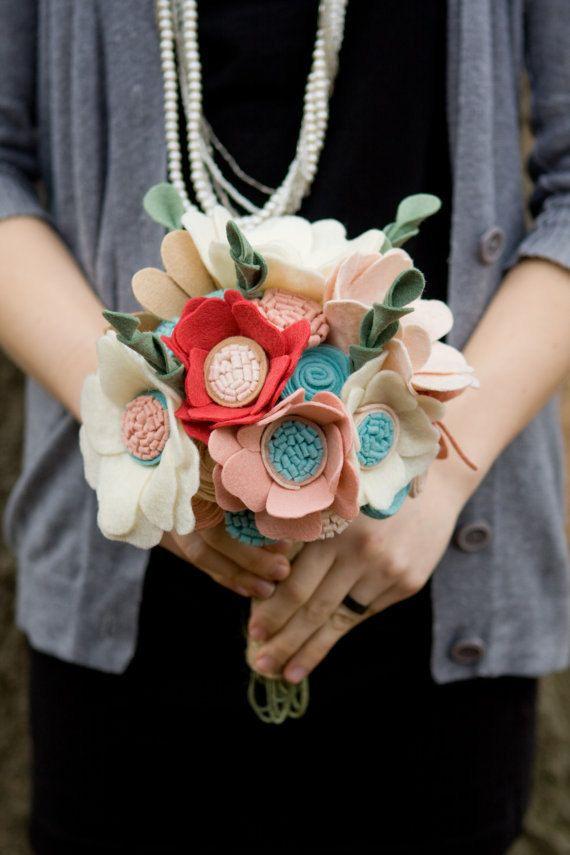 Custom - Wedding Wildflower Felt Bouquet - Alternative Wedding Flowers - Wedding Bouquet - Pink and Blue -. $161.00, via Etsy.