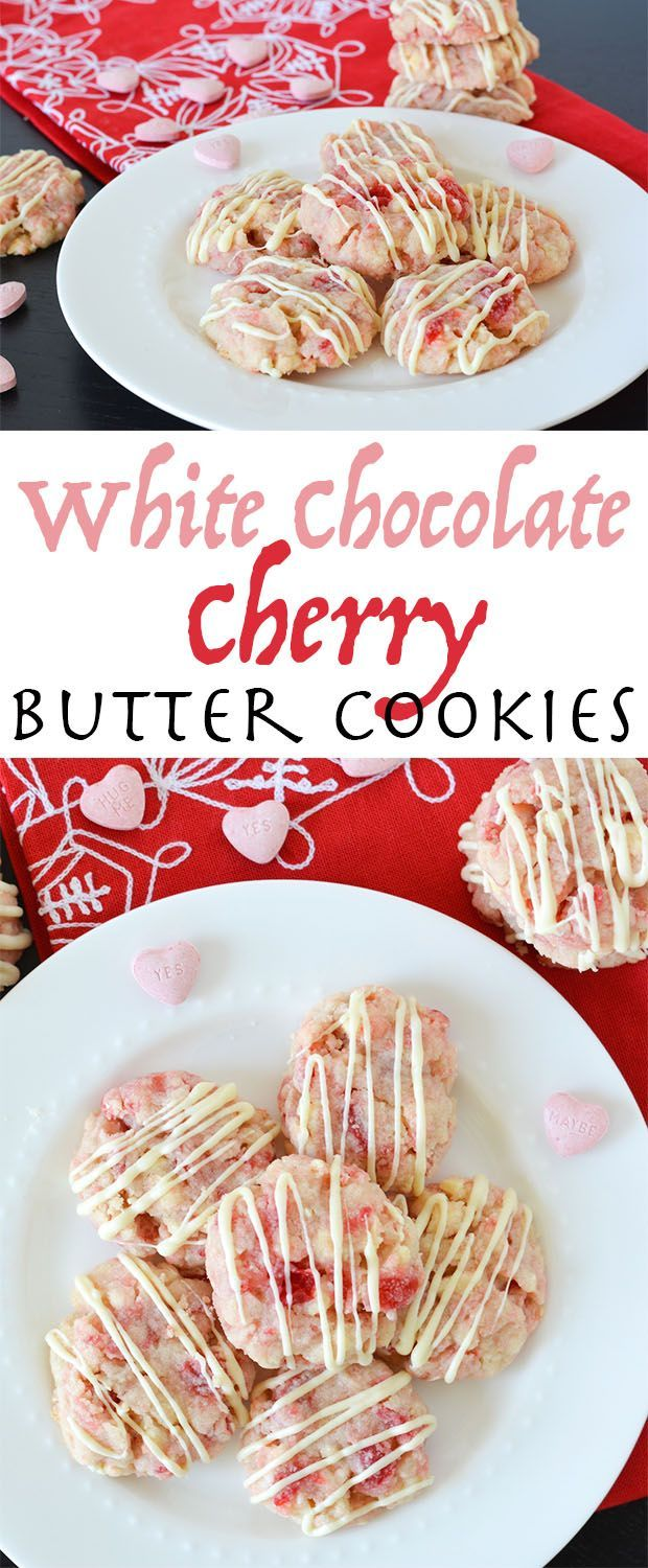 These White Chocolate Cherry Butter Cookies are so tender and buttery, they'll melt in your mouth. They're red and pink, perfect for Valentine's Day or any occasion!