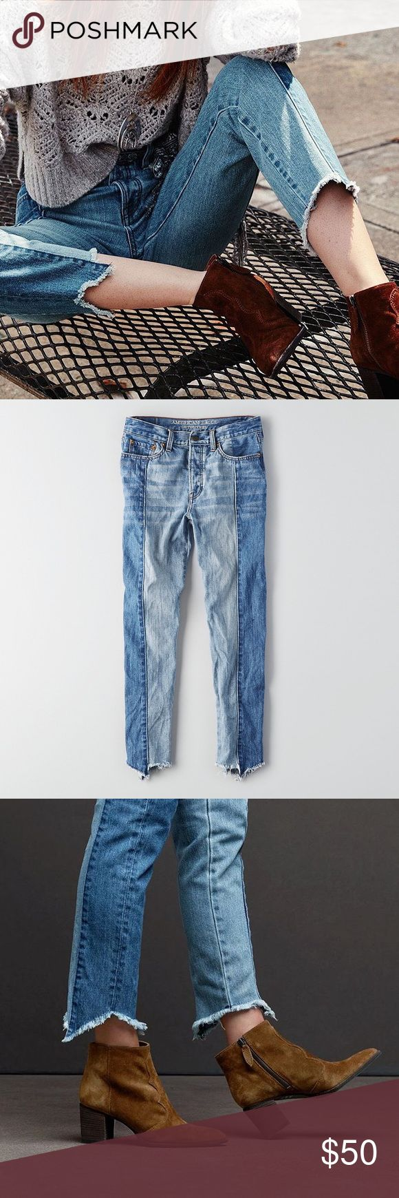 Two Toned Vintage Jeans NEW. Never worn. Excellent condition. Frayed, hi-low hem. Slim through thigh. Straight through the leg. NO TRADES/PAYPAL. American Eagle Outfitters Jeans Ankle & Cropped