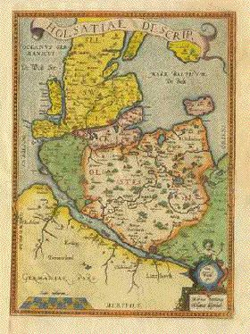 historic map of Schleswig Holstein (Sylt on the far left, still a lot bigger than now) Antwerp, 1584