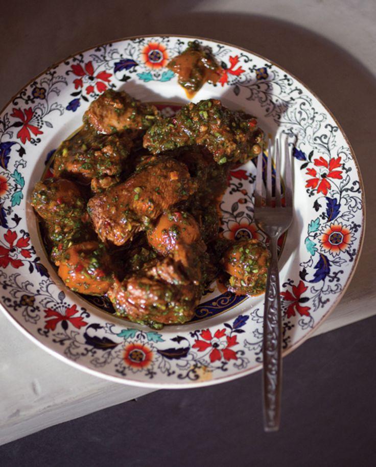 KHASHLAMA (VEAL AND SOUR PLUM STEW) // Republic of Grorgia // veal. plums, allspice, tarragon, cilantro, mint, garlic, onion, tomato paste