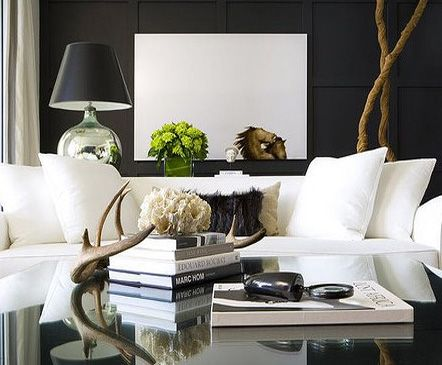 Living Room With Dark Dramatic Walls: 30 Ideas. White SofasWhite ...
