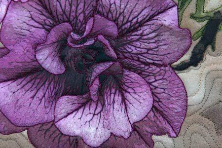"Purple Petunias flower - an ""art concentrated"" art quilt by Barbara Barrick McKie"