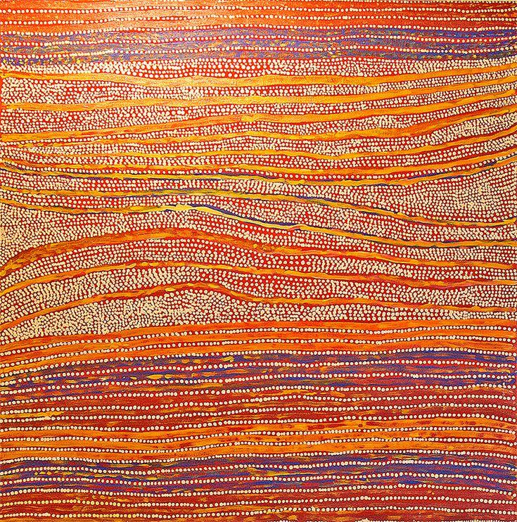 Art Aborigene • Mavis Nampitjinpa Titre de l'œuvre : Tali Tali - Sandhills Format : 100 x 100 cm #aboriginalart #australie #bruxelles #Ikuntji #artcontemporain #artaborigene