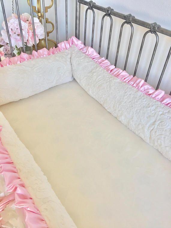 Ivory Petals Crib Bumper Pad Ivory Paisley Minky Crib Bumper