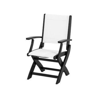 POLYWOOD Coastal Folding Dining Arm Chair Finish: Black