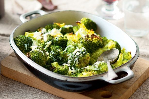 Roasted broccoli and peas with garlic dressing