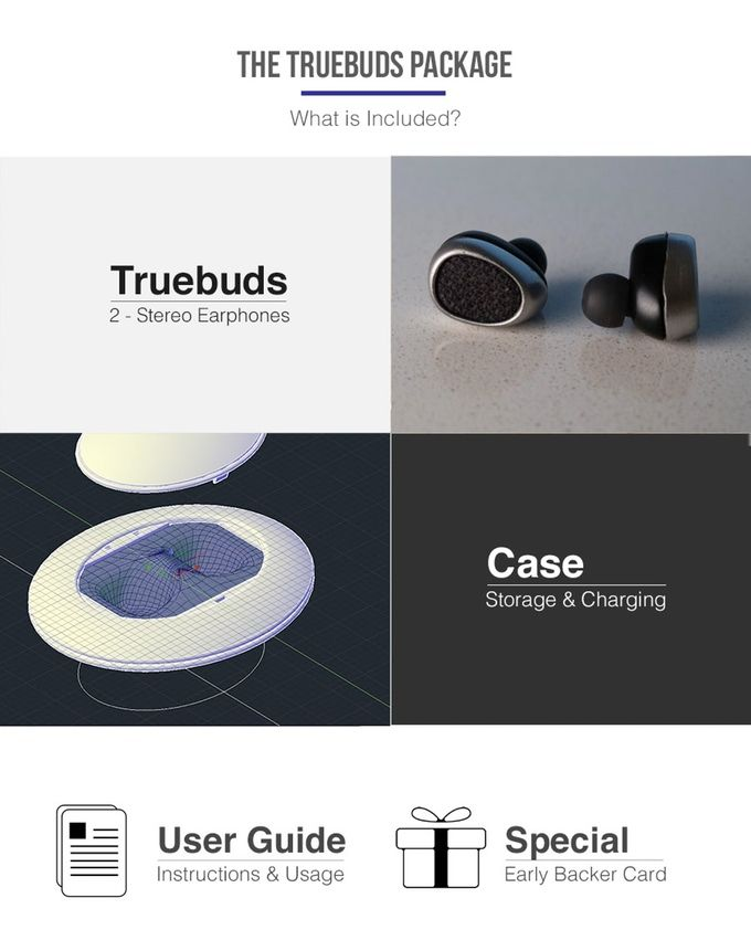 Truebuds - The World's Smallest Stereo Cordless Earbuds by Truebuds — Kickstarter