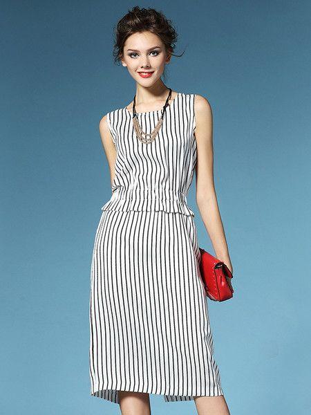 Printed Polyester Knee Length Dress #summer #women's #fashion #stylewe