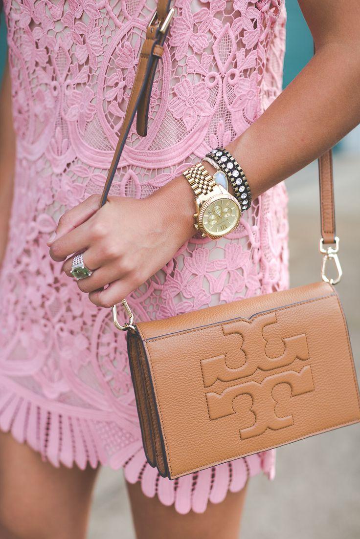 blush pink dress, pink mini dress, scallop hem, tulle earrings, lace up sandals // @asoutherndrawl