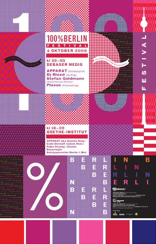 100% Berlin poster: by Kristina Brusa, via graphic design layout, identity systems and great type lock-ups.