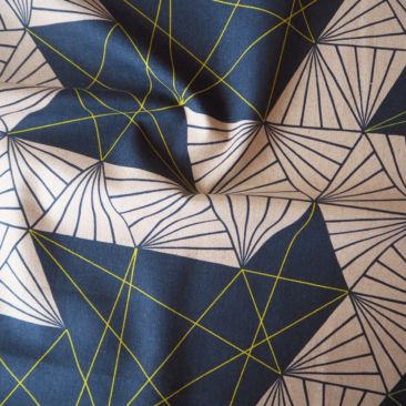 Fabrica Uka Tayutou Multifaceted In Navy Blue Cotton Linen Canvas Fabric - Guthrie & Ghani
