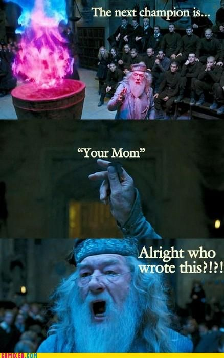 Harry Potter Jokes, Harrypotterhumor, Funny Pictures, Harry Potter Funny, Goblet Of Fire, Mom Jokes, Harry Potter Humor, Yo Momma, Funny Harry Potter