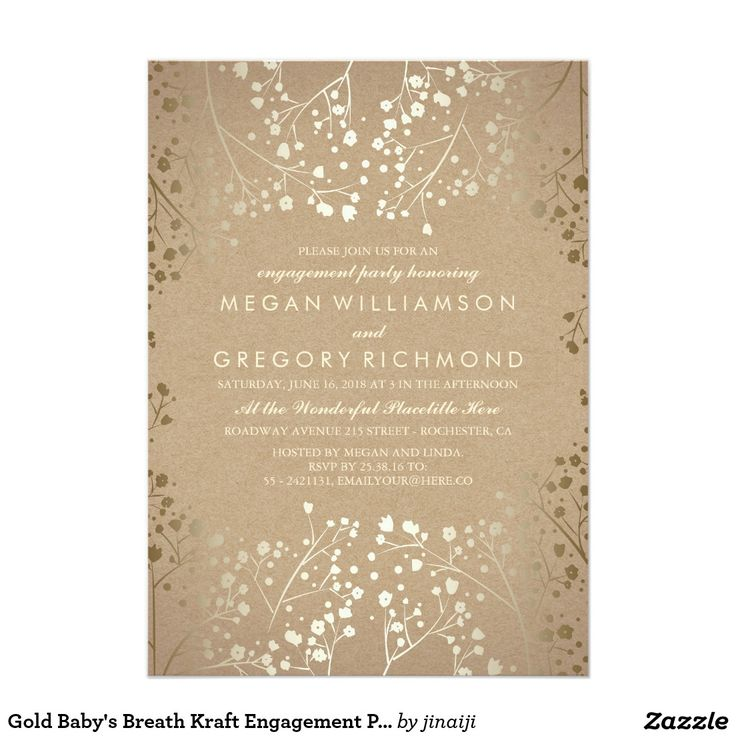 9 best not showering shmee images on pinterest engagement party gold babys breath kraft engagement party invitation stopboris Gallery