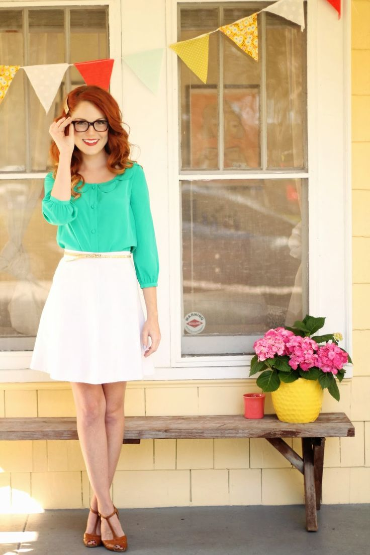 How adorable is Kate in this jade-hued ModCloth... | ModCloth on Tumblr