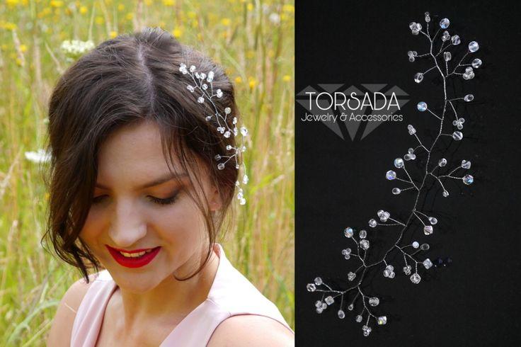 Stroik gałązka ślubna 21cm do włosów kryształki marki TORSADA