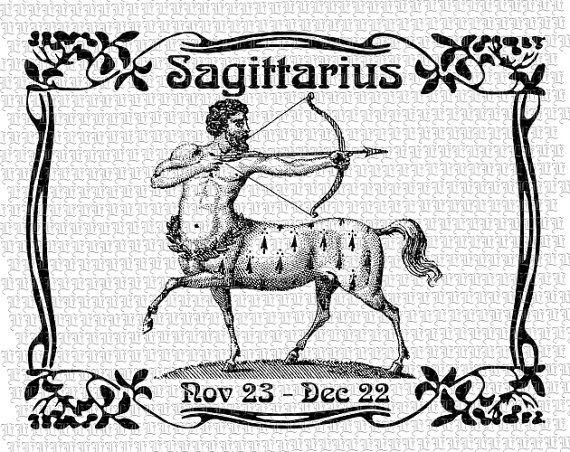 Sagittarius - The Archer Zodiac Sign Graphic Art Nouveau Digital Collage Sheet Instant Download 2540