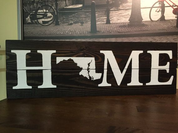 Homemade custom wood Maryland home sign-rustic pallet wood, home sign, reclaimed  wood - 399 Best Rustic Reclamed Wood Signs Images On Pinterest