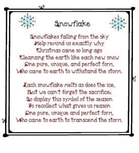 snowflake poem printable--love this!