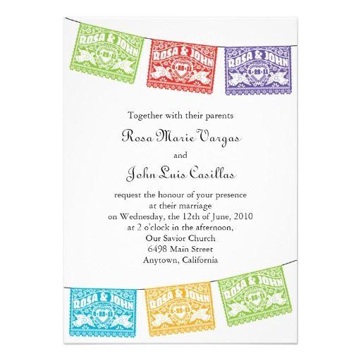 love birds papel picado banners wedding invitation spanish - Wedding Invitations In Spanish