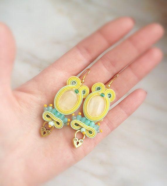 Lemon & Lime  semi-long soutache fancy earrings by AtelierMagia