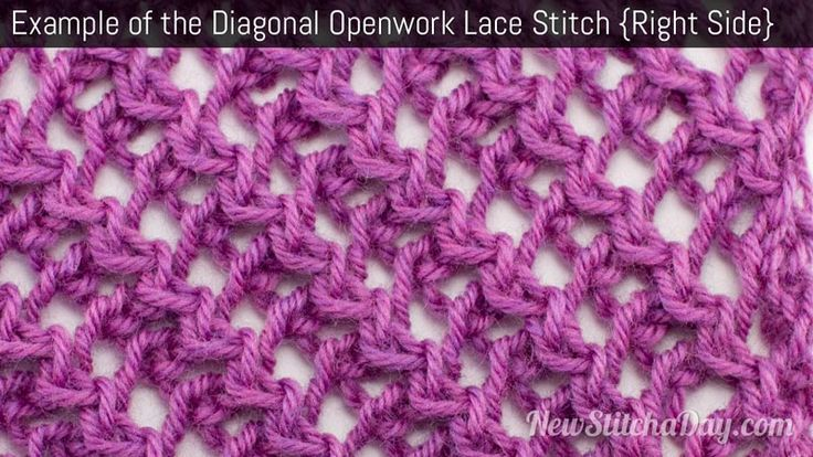 How to Knit the Diagonal Openwork Lace Stitch NewStitchaDay.com Tricot tech...