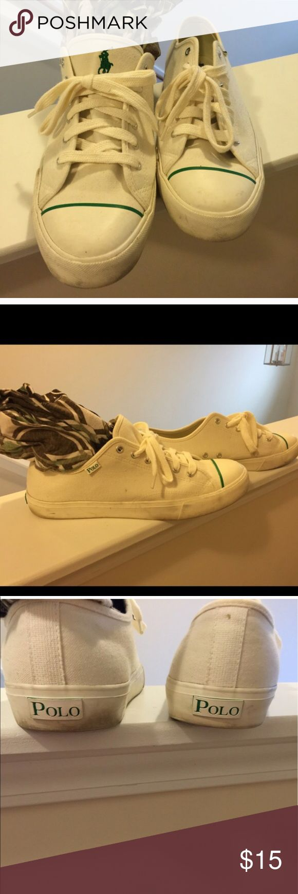 Still for sale Males shoes They are green and off white. Need some cleaning but still have plenty of life in them. Polo by Ralph Lauren Shoes Sneakers