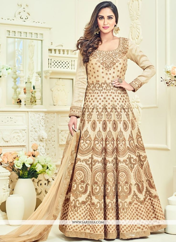 This Krystle Dsouza beige banglori silk floor length anarkali suit add the sense of elegant and glamorous. This ravishing attire is amazingly embroidered with embroidered, lace and resham work. Comes ...