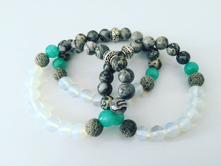 Aromatherapy Compatible bracelets with 8mm Lava Rock, White Picture Jasper and Brazilian Aquamarine beads